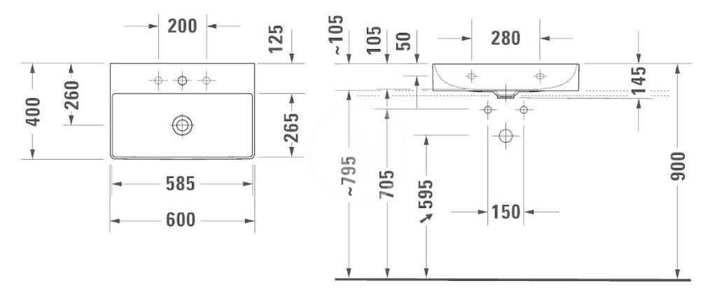 DURAVIT - DuraSquare Umývadlo nábytkové Compact 600x400 mm, s 3 otvormi na batériu, DuraCeram, alpská biela (2356600073)