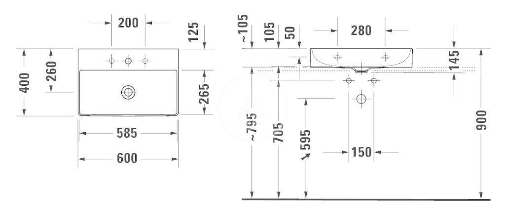 DURAVIT - DuraSquare Umývadlo nábytkové Compact 600x400 mm, s 3 otvormi na batériu, DuraCeram, s WonderGliss, alpská biela (23566000731)