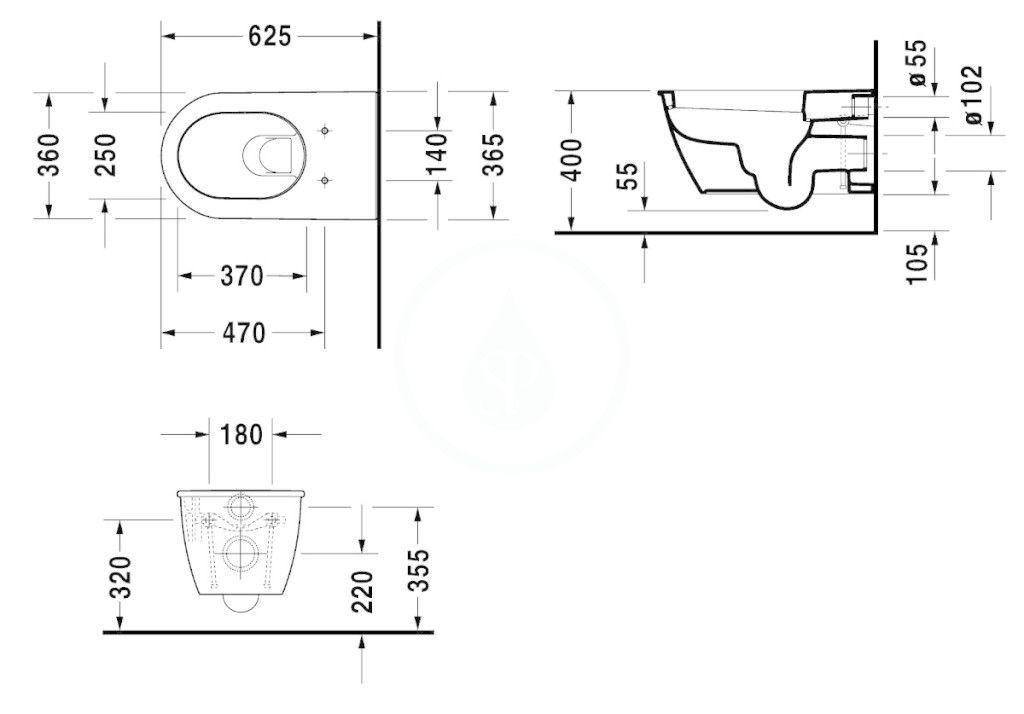DURAVIT - Darling New Závesné WC, s HygieneGlaze, alpská biela (2544092000)