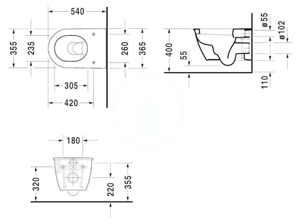 DURAVIT - Darling New Závesné WC, s HygieneGlaze, alpská biela (2545092000)