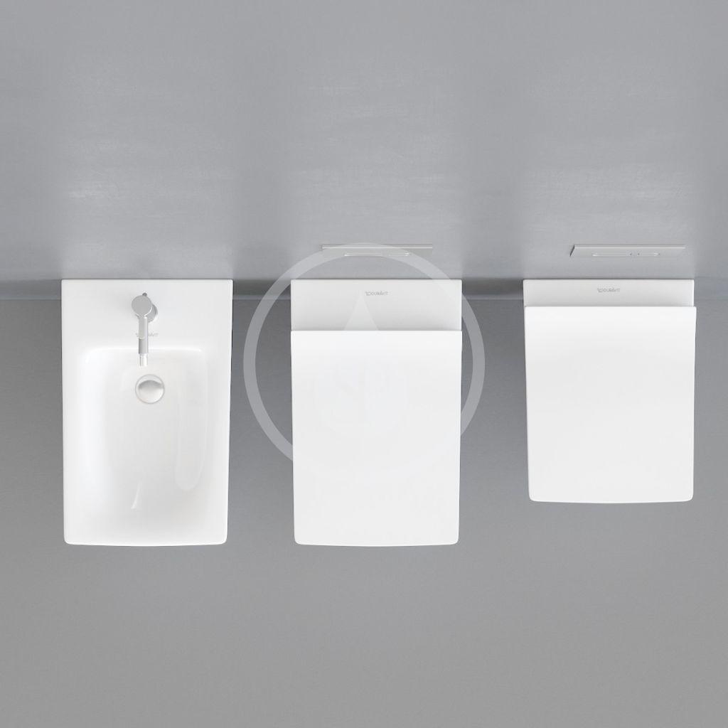 DURAVIT - Viu Závesné WC Compact, Rimless, DuraFix, s WonderGliss, alpská biela (25730900001)