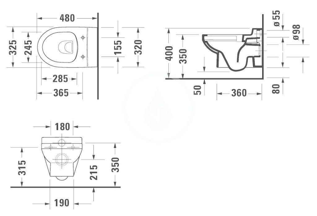 DURAVIT - DuraStyle Basic Závesné detské WC, Rimless, s HygieneGlaze, alpská biela (2574092000)