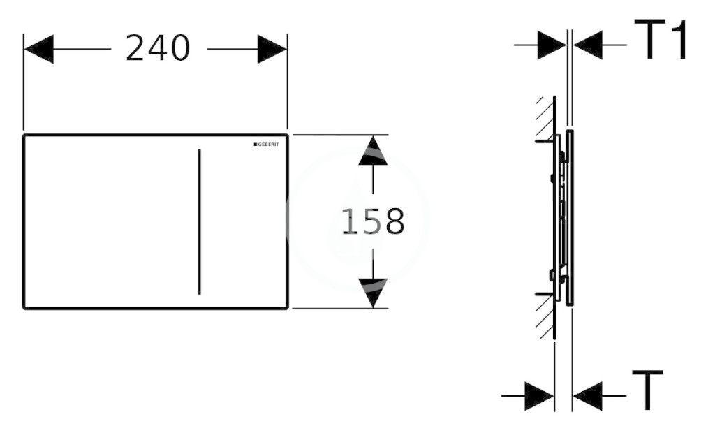 GEBERIT - Sigma70 Dotykové ovládacie tlačidlo na 2 množstvá splachovania, individuálny design (115.625.00.1)