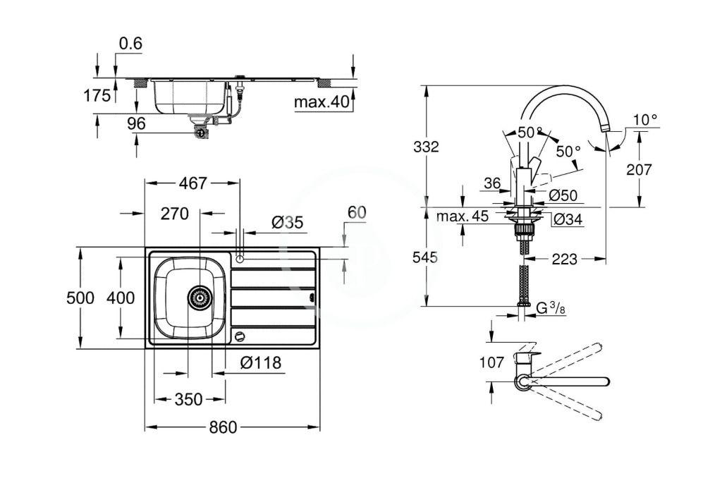 GROHE - Dřezy Set drezu K200 a batérie BauEdge, kefovaná nerezová/chróm (31562SD1)