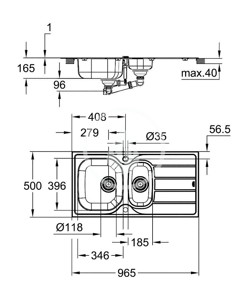 GROHE - Dřezy Drez K200 s automatickým odtokom, 965x500 mm, kefovaná nerezová (31564SD1)
