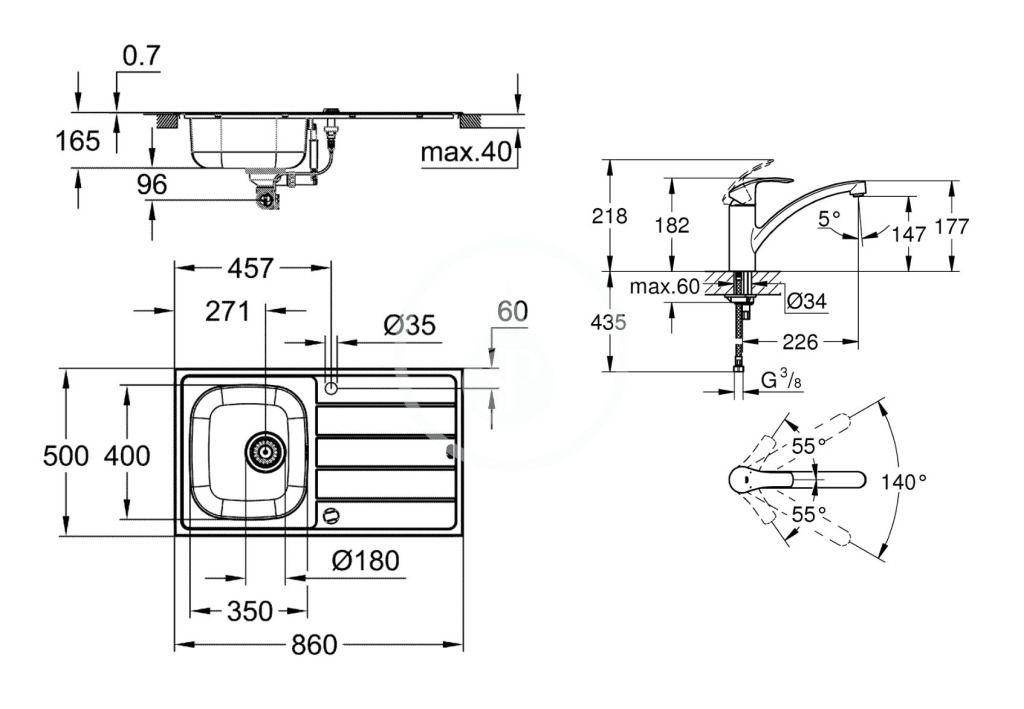 GROHE - Dřezy Set drezu K200 a batérie Eurosmart, kefovaná nerezová/chróm (31565SD1)