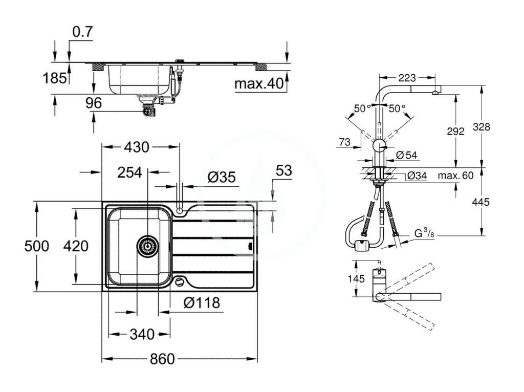 GROHE - Dřezy Set drezu K500 a batérie Minta, kefovaná nerezová/chróm (31573SD1)