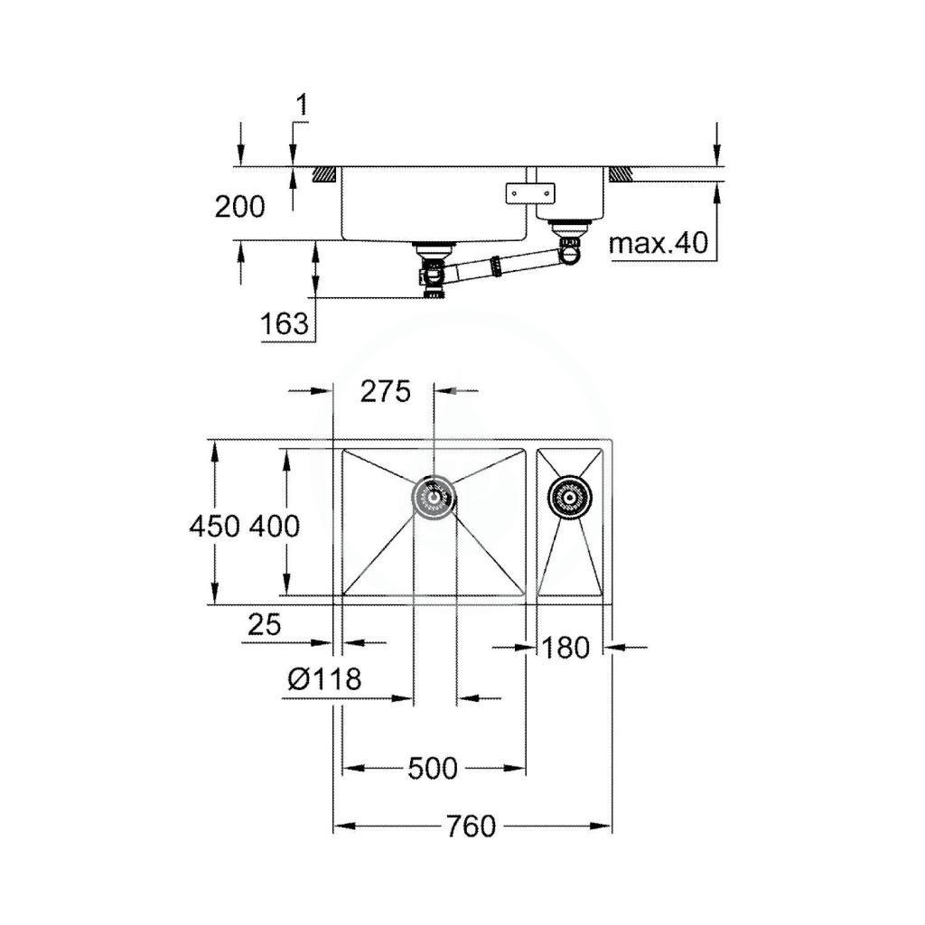 GROHE - Dřezy Drez K700 s odtokom, 760x450 mm, kefovaná nerezová (31575SD1)