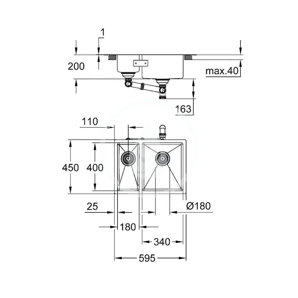 GROHE - Dřezy Drez K700 s odtokom, 595x450 mm, kefovaná nerezová (31576SD1)