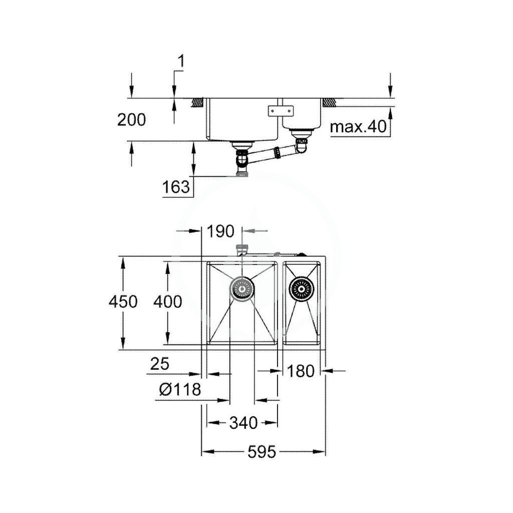 GROHE - Dřezy Drez K700 s odtokom, 595x450 mm, kefovaná nerezová (31577SD1)