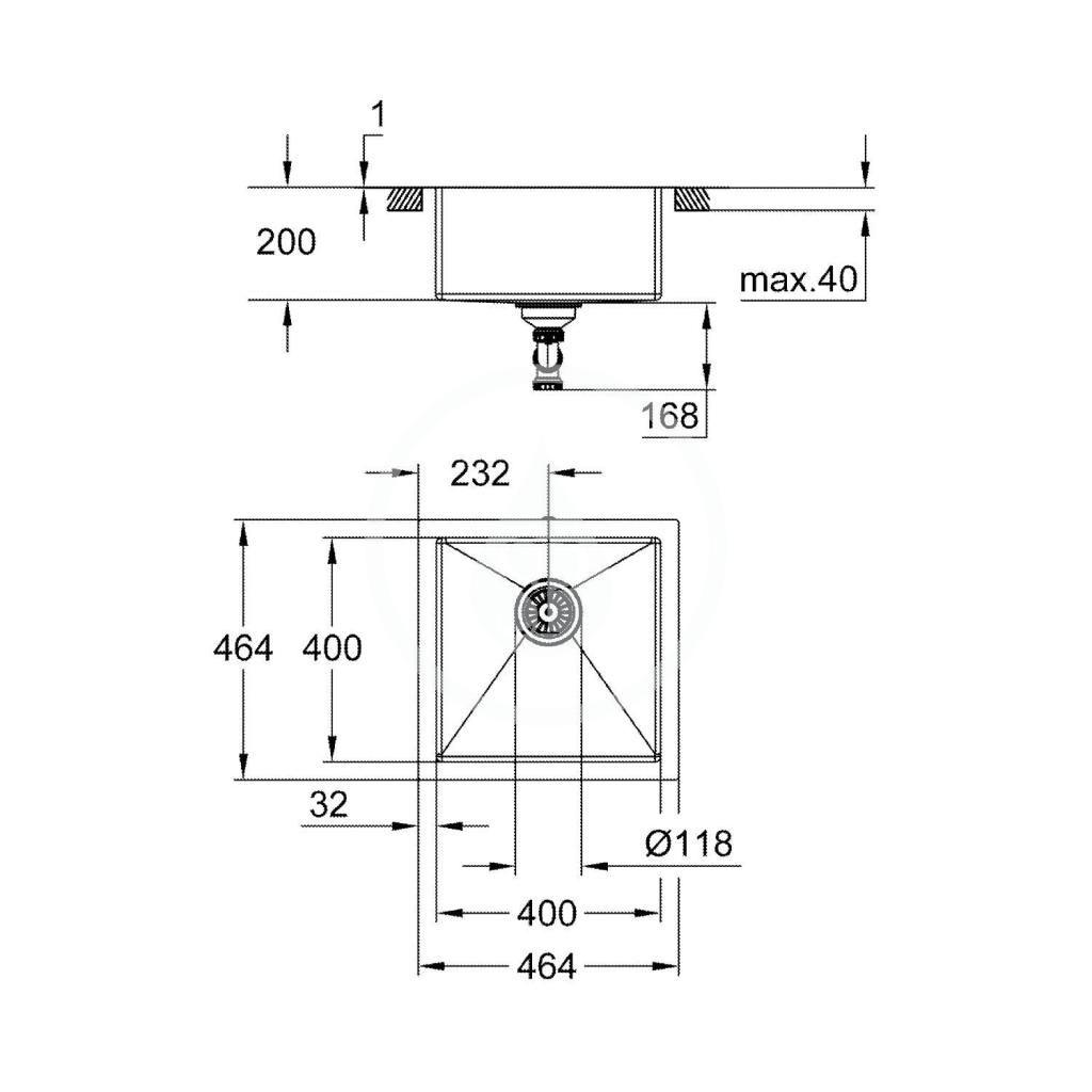 GROHE - Dřezy Drez K700 s odtokom, 464x464 mm, kefovaná nerezová (31578SD1)