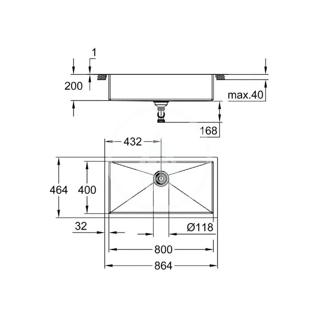 GROHE - Dřezy Drez K700 s odtokom, 864x464 mm, kefovaná nerezová (31580SD1)