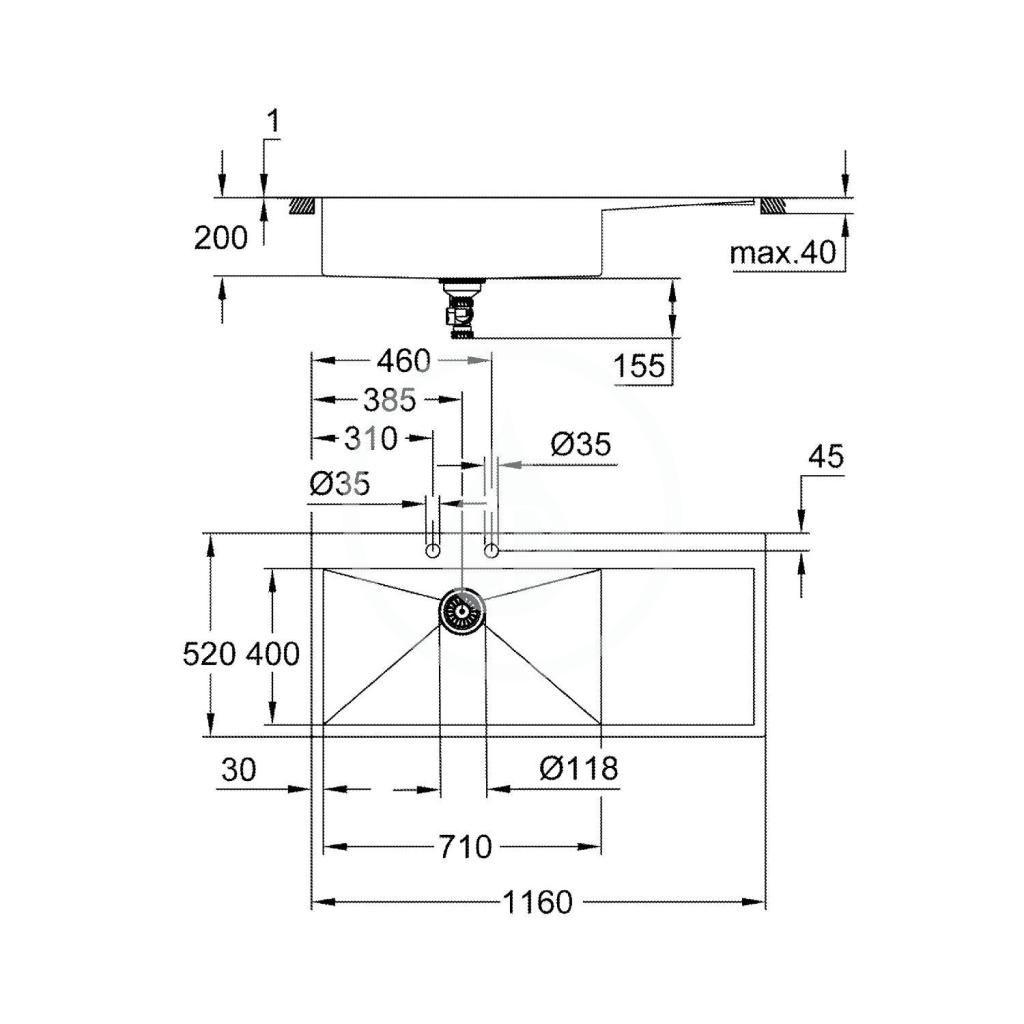 GROHE - Dřezy Drez K1000 s automatickým odtokom, 1160x520 mm, kefovaná nerezová (31581SD1)
