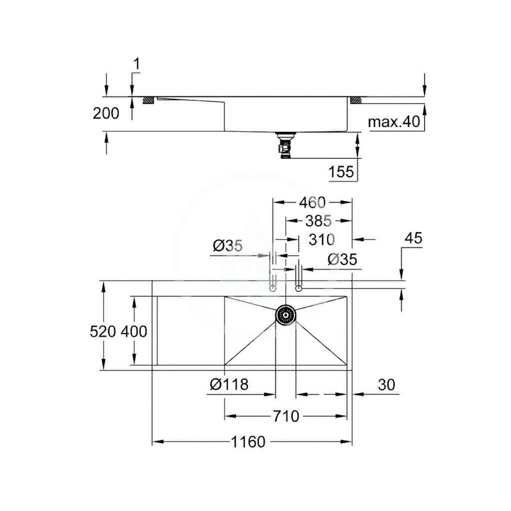 GROHE - Dřezy Drez K1000 s automatickým odtokom, 1160x520 mm, kefovaná nerezová (31582SD1)
