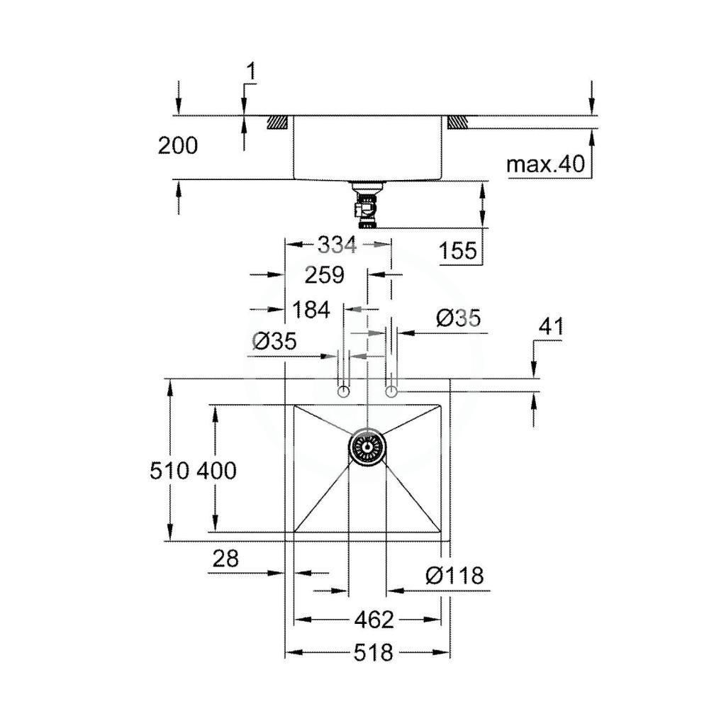 GROHE - Dřezy Drez K800 s automatickým odtokom, 518x510 mm, kefovaná nerezová (31583SD1)