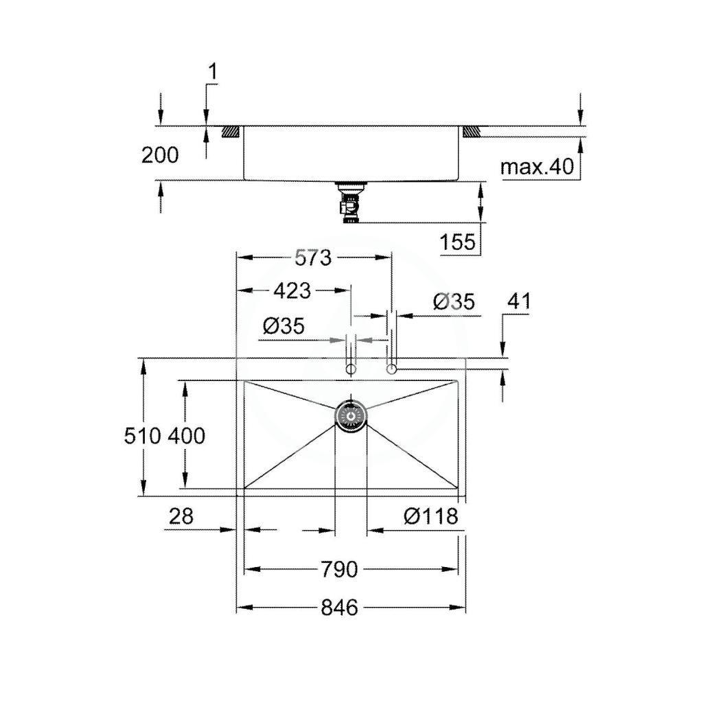 GROHE - Dřezy Drez K800 s automatickým odtokom, 864x510 mm, kefovaná nerezová (31584SD1)
