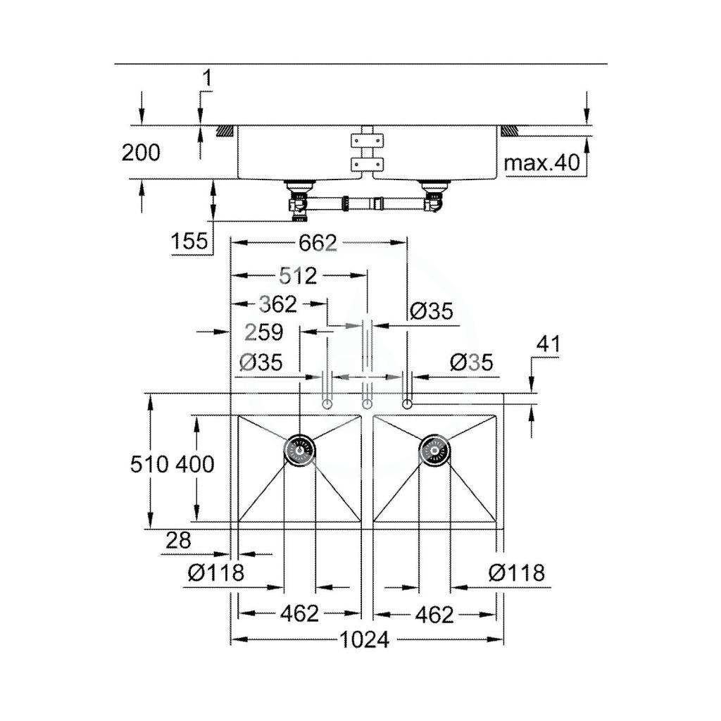 GROHE - Dřezy Drez K800 s automatickým odtokom, 1024x560 mm, kefovaná nerezová (31585SD1)