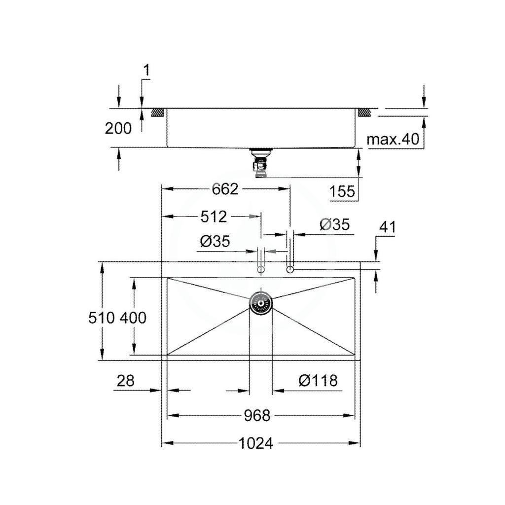 GROHE - Dřezy Drez K800 s automatickým odtokom, 1024x510 mm, kefovaná nerezová (31586SD1)