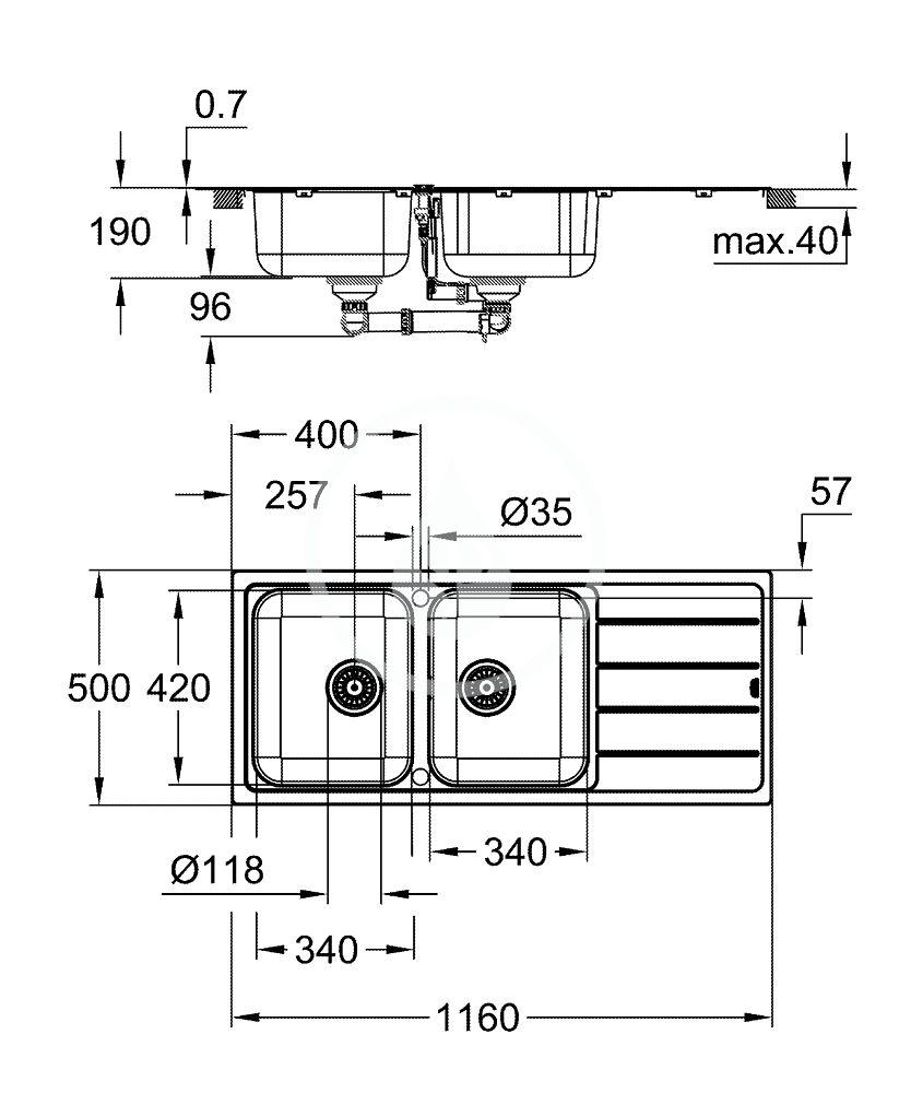 GROHE - Dřezy Drez K500 s automatickým odtokom, 1160x500 mm, kefovaná nerezová (31588SD1)