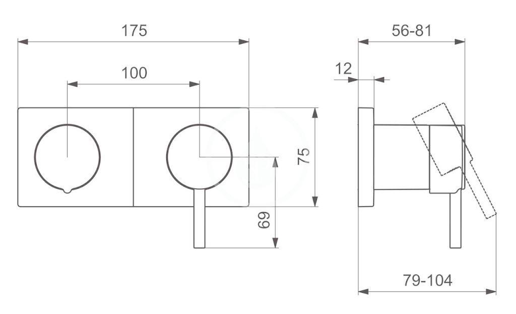 HANSA - Stela Vaňová batéria pod omietku, s prepínačom na 2 výstupy, chróm (44579583)