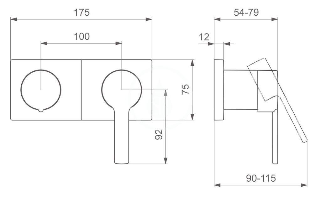 HANSA - Ronda Vaňová batéria pod omietku, s prepínačom na 2 výstupy, chróm (44599583)