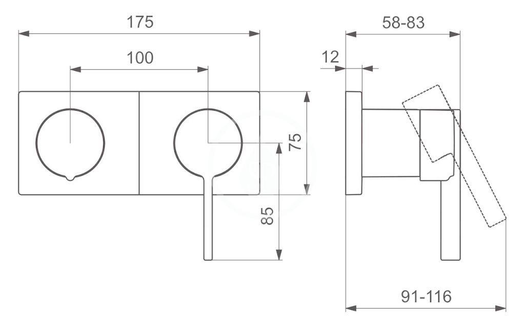 HANSA - Loft Vaňová batéria pod omietku, s prepínačom na 2 výstupy, chróm (57649583)