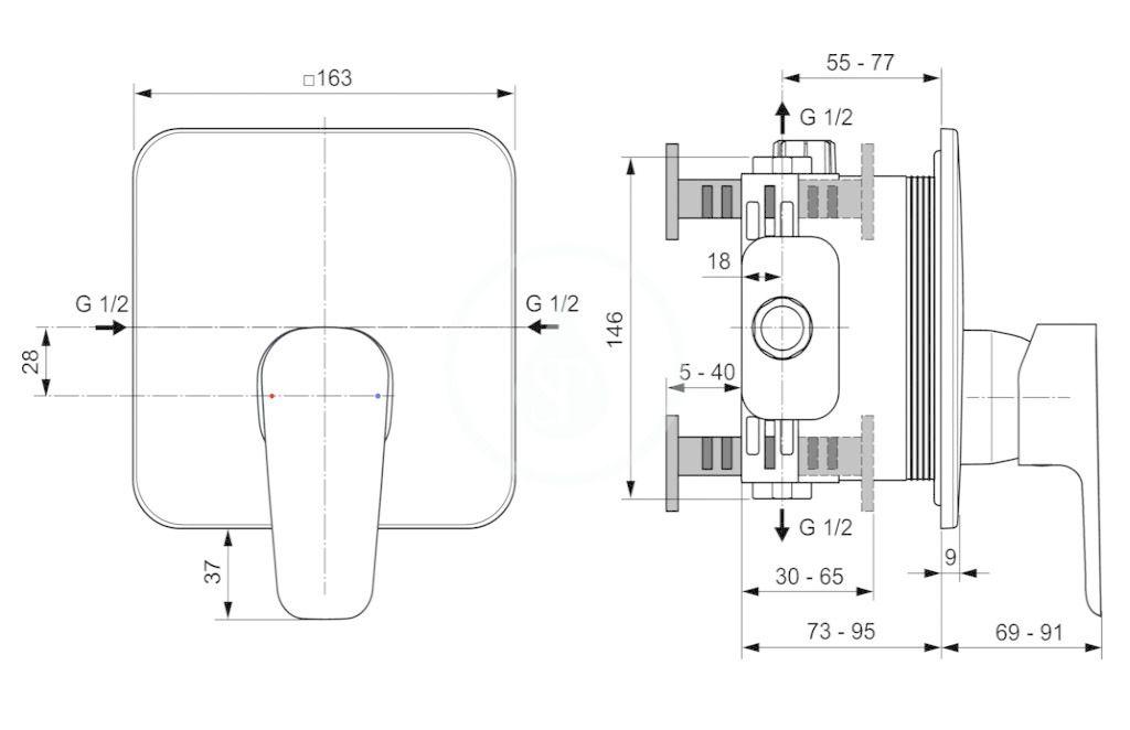 IDEAL STANDARD - Cerafine D Sprchová batéria pod omietku, chróm (A7347AA)