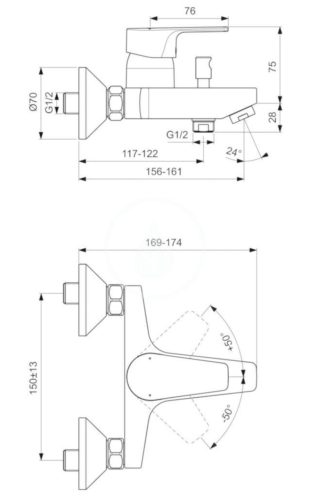 IDEAL STANDARD - Cerafine D Vaňová batéria, chróm/sivá perla (BC692U8)