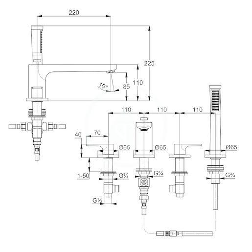 KLUDI - Zenta SL Batéria na okraj vane, 4-otvorová inštalácia, chróm (484240565)