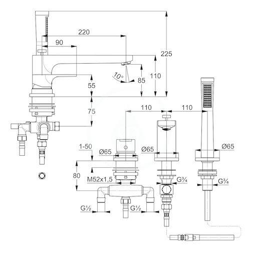 KLUDI - Zenta SL Batéria na okraj vane, 3-otvorová inštalácia, chróm (484480565)