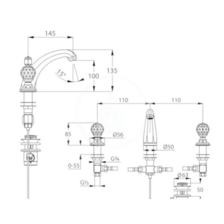 KLUDI - Adlon Umývadlová batéria s výpusťou, 3-otvorová inštalácia, zlatá (5104345G4)