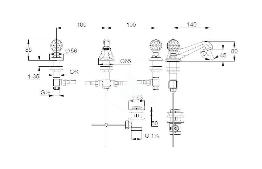 KLUDI - Adlon Umývadlová batéria s výpusťou, 3-otvorová inštalácia, zlatá (5104645G4)