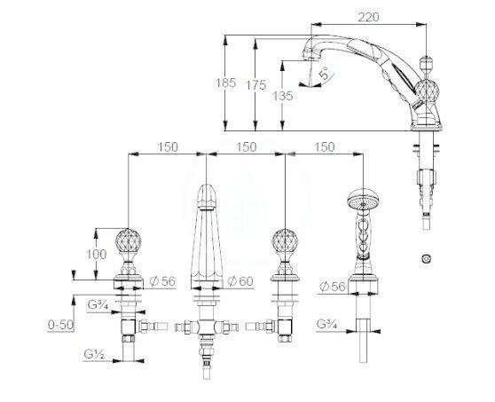 KLUDI - Adlon Vaňová batéria s výpusťou, 4-otvorová inštalácia, chróm (5152405G5)