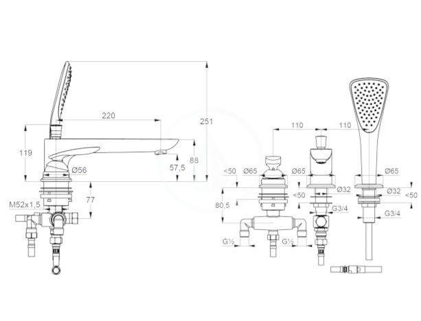 KLUDI - Balance Batéria na okraj vane, 3-otvorová inštalácia, čierna mat (524478775)