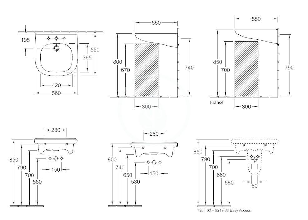 VILLEROY & BOCH - ViCare Umývadlo Vita 560x550 mm, s prepadom, otvor na batériu, AntiBac, CeramicPlus, alpská biela (411955T2)