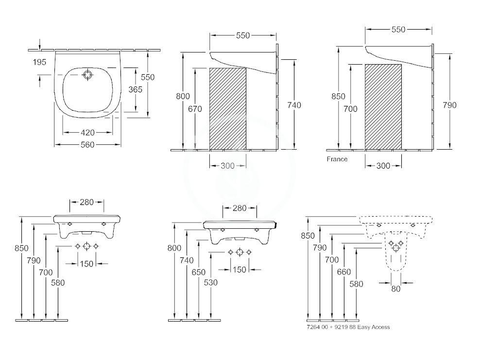 VILLEROY & BOCH - O.novo Umývadlo Vita 560x550 mm, s prepadom, bez otvoru na batériu, AntiBac, CeramicPlus, alpská biela (411958T2)