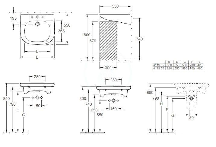 VILLEROY & BOCH - ViCare Umývadlo Vita 610x550 mm, s prepadom, otvor na batériu, AntiBac, CeramicPlus, alpská biela (411960T2)