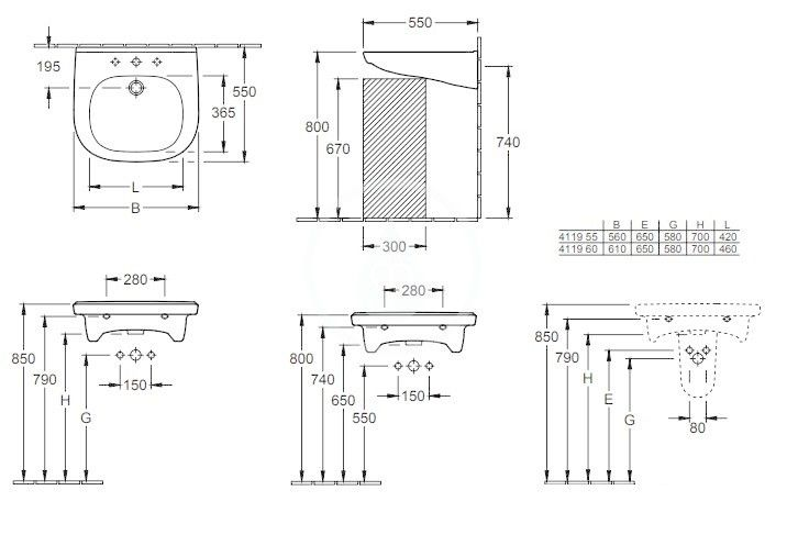 VILLEROY & BOCH - ViCare Umývadlo Vita 610x550 mm, bez prepadu, otvor na batériu, AntiBac, CeramicPlus, alpská biela (411961T2)
