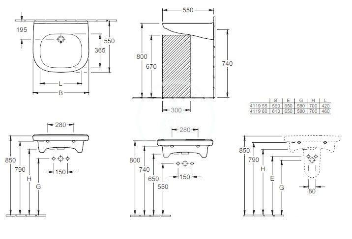 VILLEROY & BOCH - O.novo Umývadlo Vita 610x550 mm, s prepadom, bez otvoru na batériu, AntiBac, CeramicPlus, alpská biela (411962T2)