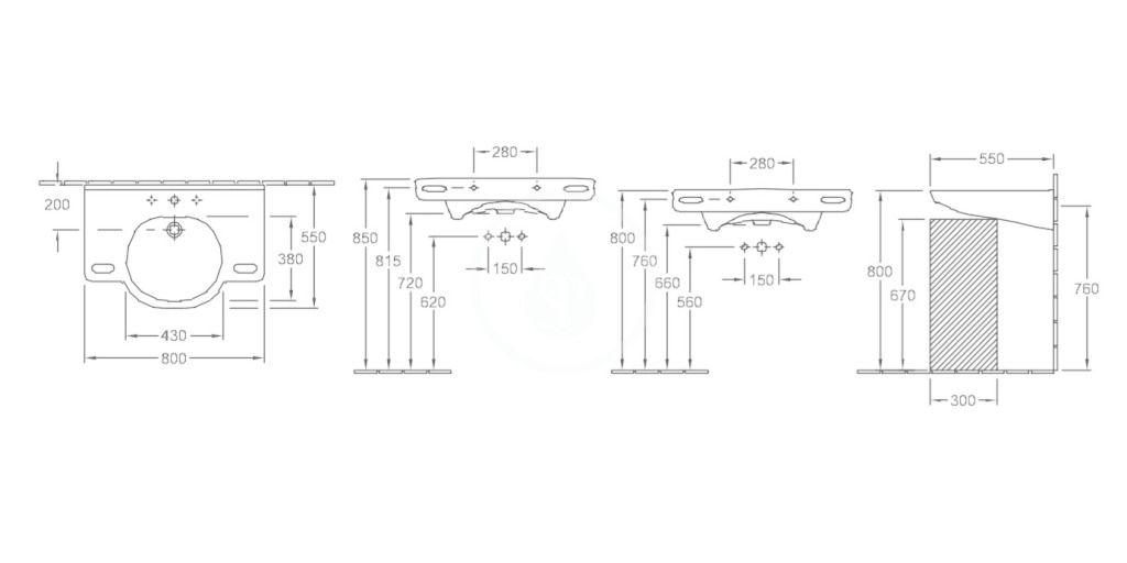 VILLEROY & BOCH - ViCare Umývadlo Vita 800x550 mm, s prepadom, otvor na batériu, AntiBac, CeramicPlus, alpská biela (412080T2)