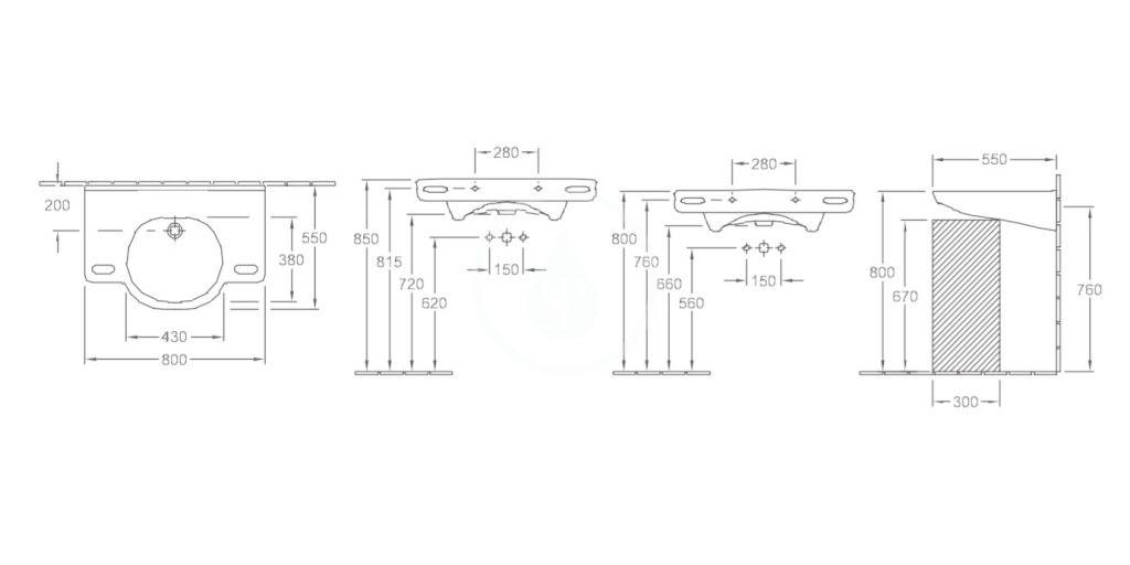 VILLEROY & BOCH - O.novo Umývadlo Vita 800x550 mm, s prepadom, bez otvoru na batériu, AntiBac, CeramicPlus, alpská biela (412082T2)