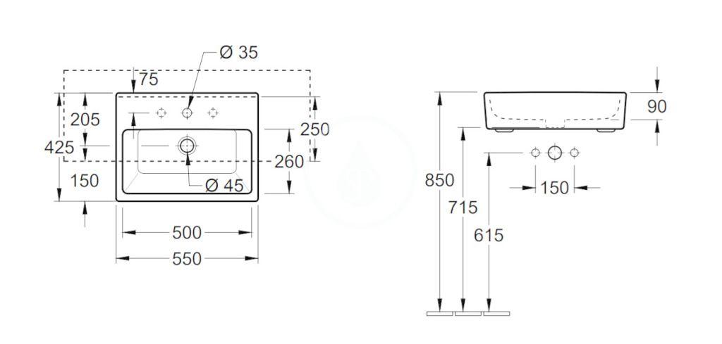 VILLEROY & BOCH - Memento Umývadlo polozápustné 550x425 mm, s prepadom, otvor na batériu, CeramicPlus, Glossy Black (413355S0)
