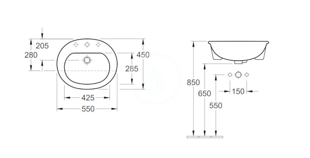VILLEROY & BOCH - O.novo Umývadlo polozápustné 550x450 mm, bez prepadu, otvor na batériu, AntiBac, alpská biela (416056T1)