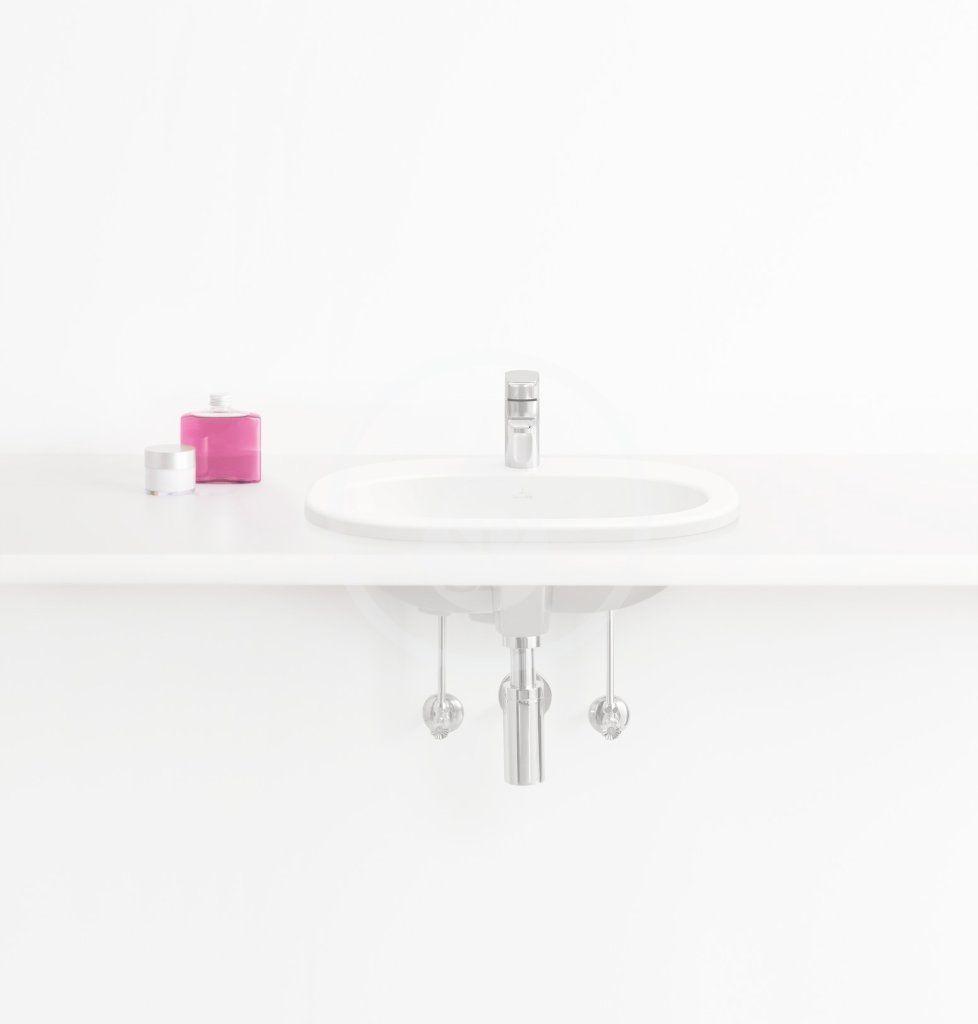 VILLEROY & BOCH - O.novo Umývadlo zápustné 560x405 mm, s prepadom, otvor na batériu, AntiBac, alpská biela (416156T1)
