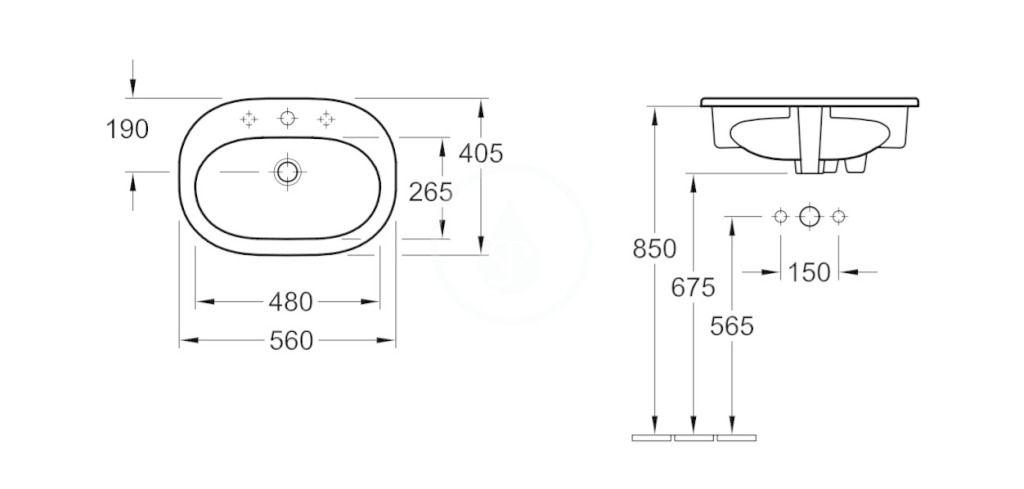 VILLEROY & BOCH - O.novo Umývadlo zápustné 560x405 mm, bez prepadu, otvor na batériu, AntiBac, alpská biela (416157T1)