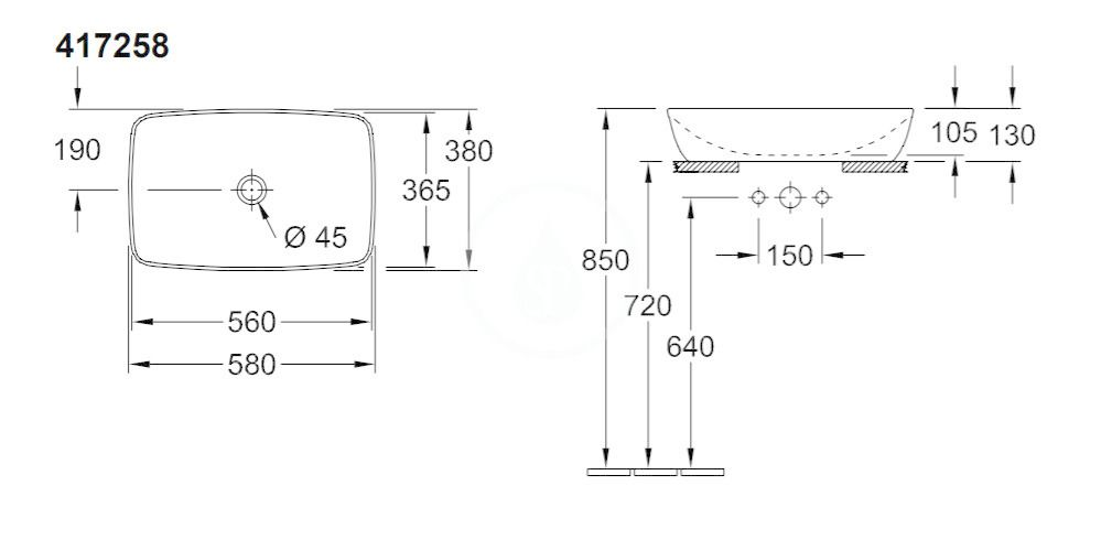 VILLEROY & BOCH - Artis Umývadlo na dosku, 580x380 mm, CeramicPlus, Stone White (417258RW)