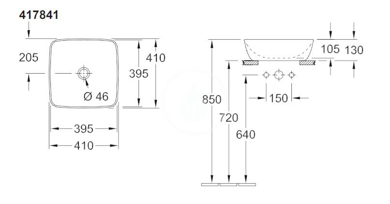 VILLEROY & BOCH - Artis Umývadlo na dosku, 410x410 mm, CeramicPlus, Stone White (417841RW)