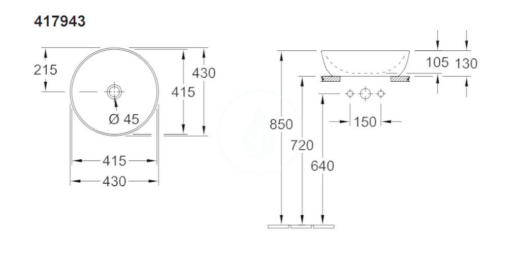 VILLEROY & BOCH - Artis Umývadlo na dosku, priemer 430 mm, Full Moon (417943BCT6)