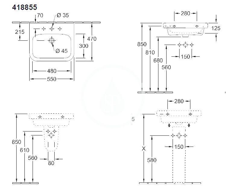 VILLEROY & BOCH - Architectura Umývadlo 550x470 mm, s prepadom, otvor na batériu, AntiBac, alpská biela (418855T1)