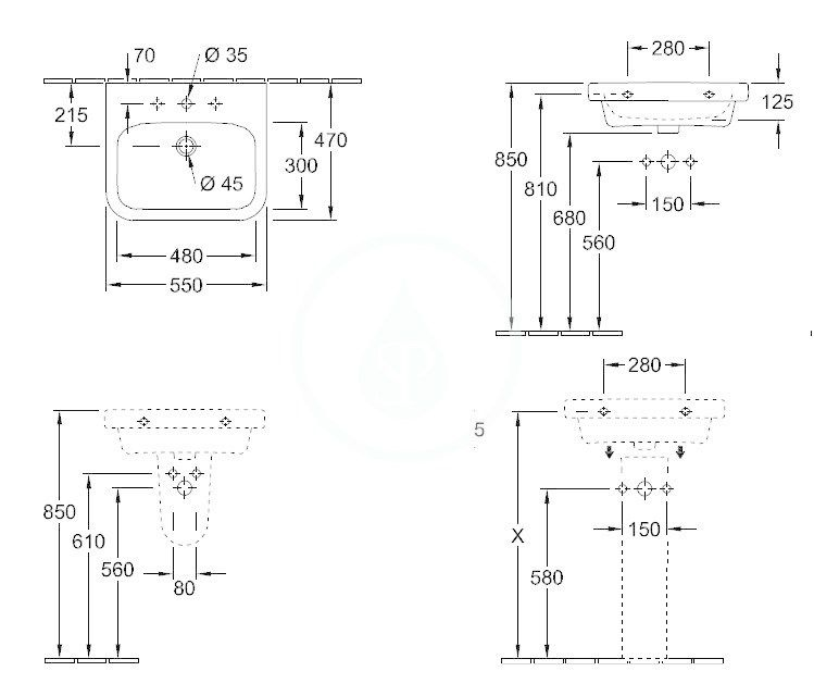 VILLEROY & BOCH - Architectura Umývadlo 550x470 mm, bez prepadu, otvor na batériu, AntiBac, alpská biela (41885LT1)